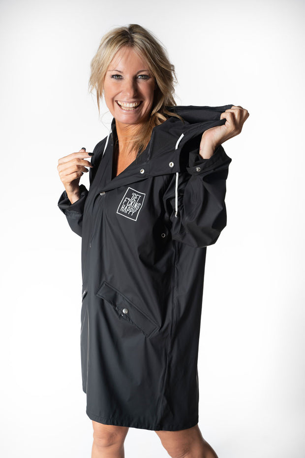Get F*cking Happy Black Raincoat!