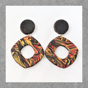 Polymer Clay Multicolor Marble Dangle Earrings