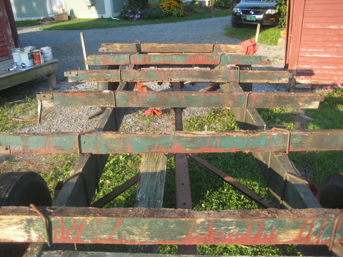 Deck removed from old farm wagon