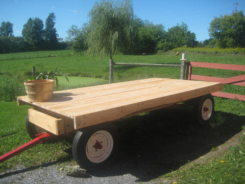 New hemlock plank deck on the old farm wagon