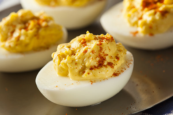 Fresh deviled eggs made with smoky habañero mustard