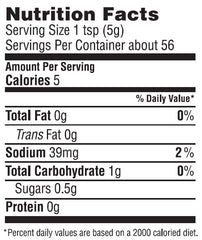 Smoky Habanero Mustard Nutrition Facts