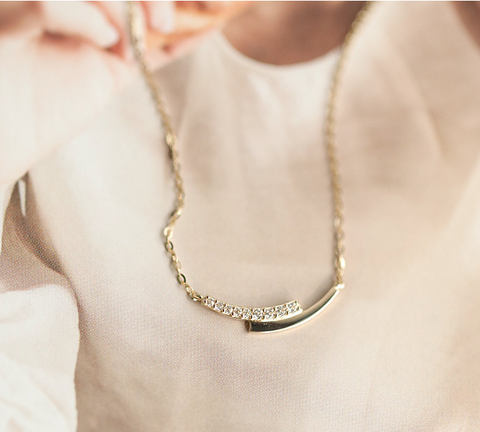 Sterling Silver Gold Plated Silver Diamante Mini Curve Necklace Luxury