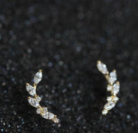 White Gold Plated Silver Floral Crystal Ear Cuffs