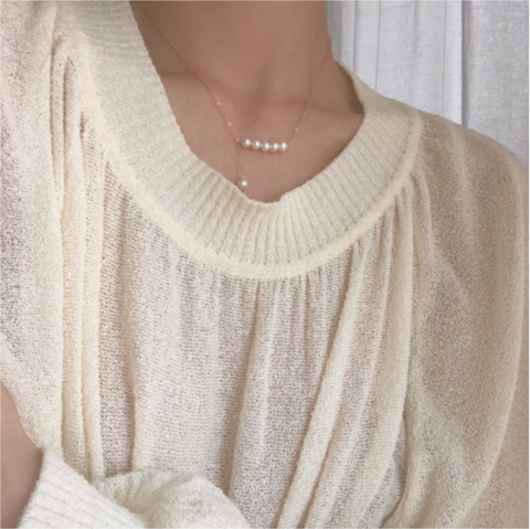 Luxury Mini Pearls Chokers Necklace Gold Plated Silver
