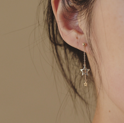 Asymmetry Gold Plated Silver Star Drop Earrings