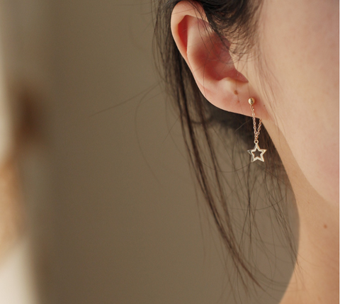 Asymmetry Gold Plated Silver Star Drop Earrings Sydney Luxury