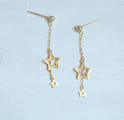 Asymmetry Gold Plated Silver Star Drop Earrings Studs