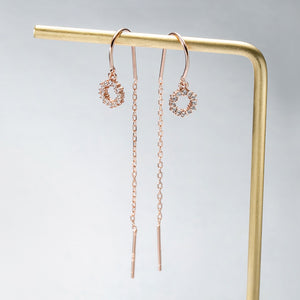 Rose Gold Silver Diamante Circular Chain Earrings