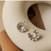 Load image into Gallery viewer, C Shape White Zircon Pearls Studs Earring