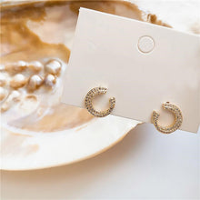 Load image into Gallery viewer, Diamante Golden C Shape Stud Earrings