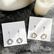 Load image into Gallery viewer, South Korea Design Gold Plated Long Three-Circle Earrings
