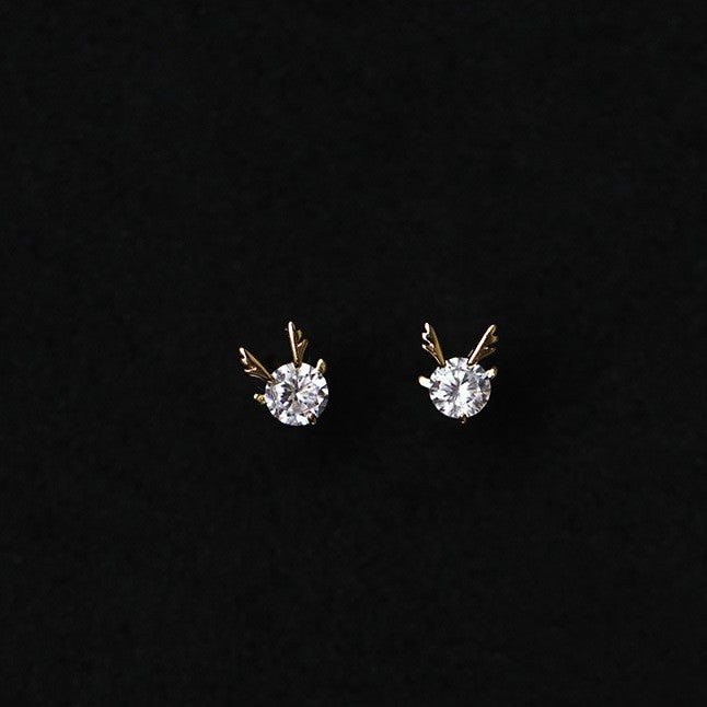 Deer Shape Zircon Diamond Stud Earrings