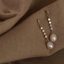 Load image into Gallery viewer, Diamante Pearl Drop Earrings