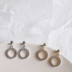 Diamante Circle Drop Earrings