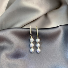 Load image into Gallery viewer, Vintage Freshwater Cultured 3 Pearls Drop Earrings in 14K Gold Plated Silver