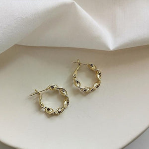 Gold Plated Twist Circle Huggie Earrings