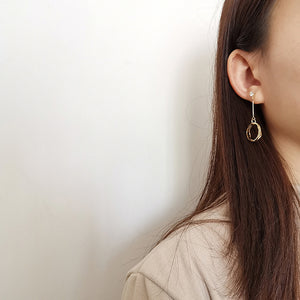 South Korea Design Gold Plated Long Three-Circle Earrings