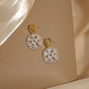 Luxury 14K Gold Plated Zircon Diamante Round Chic Drop Earrings