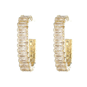 14K Gold Filled Rectangle Zircon Diamente C Shape Huggies Stud Earrings