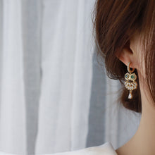 Load image into Gallery viewer, Fashion Owl 14K Gold Plated Zircon Drop Earrings