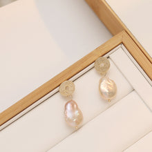 Load image into Gallery viewer, Circular Stud With Irregular Fresh Pearl Drop Earrings