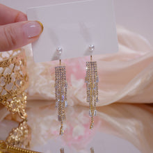 Load image into Gallery viewer, Gold Plated Tassel Chandelier Earrings With Pearl