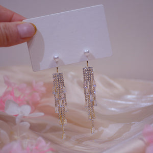 Gold Plated Tassel Chandelier Earrings With Pearl