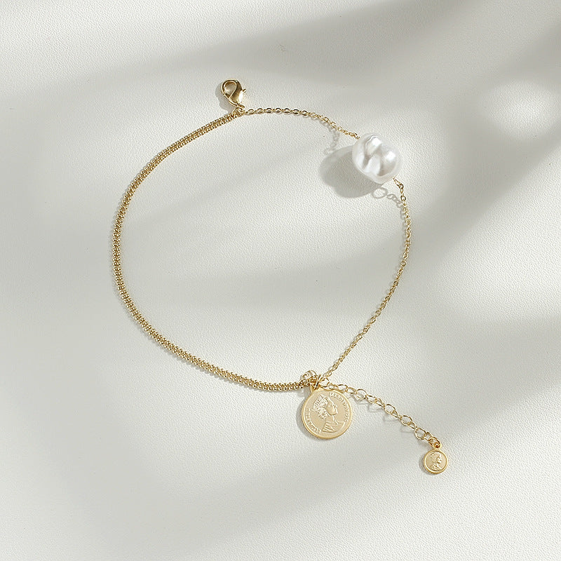 Baroque Single Pearl Bracelet with Gold Plated Chain
