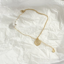 Load image into Gallery viewer, Baroque Single Pearl Bracelet with Gold Plated Chain
