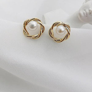 Gold Plated Twist Circular Pearl Stud Earrings