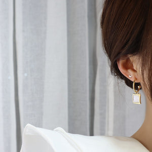 Unique Fashion Gold Plated Silver Rectangle Shell Chic Drop Earrings