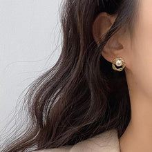 Load image into Gallery viewer, Gold Plated Twist Circular Pearl Stud Earrings
