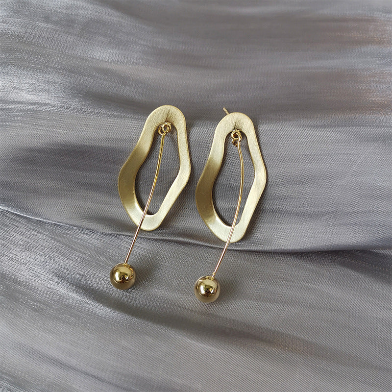 Gold Plated Irregular Shape with Mini Balls Drop Earrings