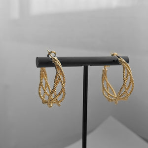 Luxury 14K Gold Plated Thread Twist Chic Huggies Earrings