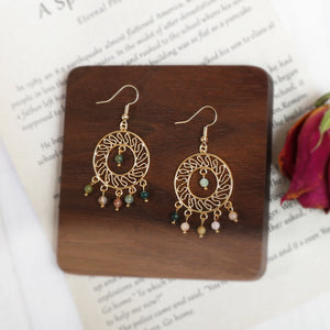Ethnic Styled Dangle Earrings in 18K Gold Plated Copper - Circle