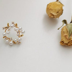 Gold Plated Blossom Pearls Stud Earrings