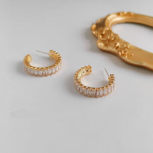 INS Popular C Shape Huggie Ear Studs with Mini Zircons