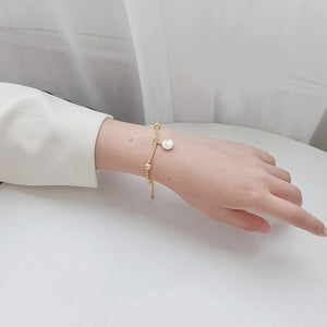 Vintage 14K Gold Plated Chain Bracelet With Shell
