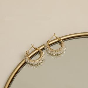 Crystal Decorated 14K Gold Plated Chain Huggies