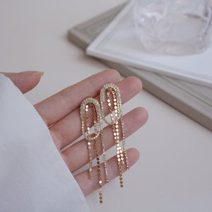 Luxury Fashion Design Gold Plated Oval Geometry Tassel Drop Earrings