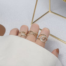 Load image into Gallery viewer, Fashion Design Gold Plated Zircon Geometric Rings Size Adjustable