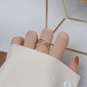 Fashion Design Gold Plated Zircon Geometric Rings Size Adjustable