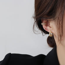 Load image into Gallery viewer, Double Layer C Shape Gold Plated Zircon Ear Cuff Studs