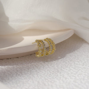 Double Layer C Shape Gold Plated Zircon Ear Cuff Studs