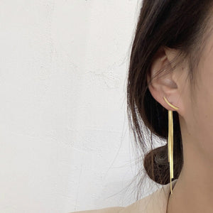 Gold Plated Snake Chain Tassel Earrings