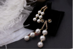 Vintage Freshwater Cultured 3 Pearls Drop Earrings in 14K Gold Plated Silver