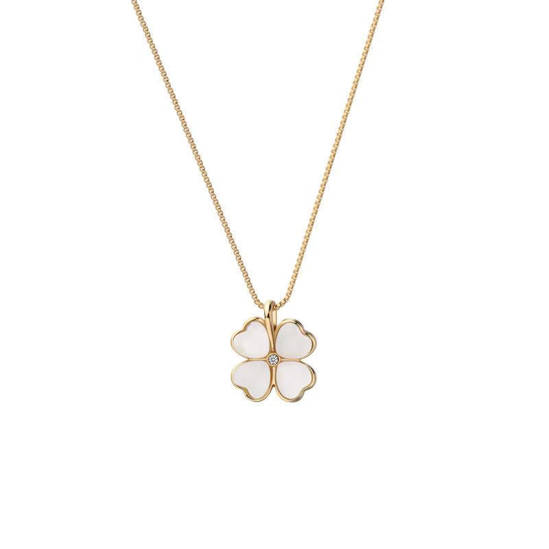 14K Gold Plated Four Leaf Clover Pendant Necklace