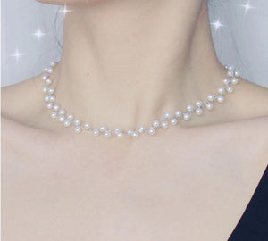 Double Layer Pearl Choker Necklace in 14K Gold Plated Silver