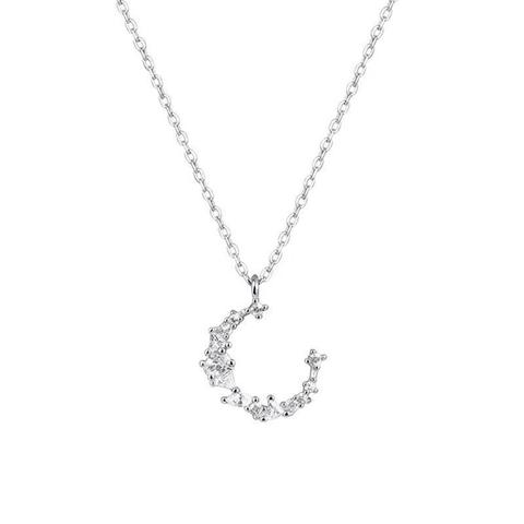 Moon Shape Crystal Necklace